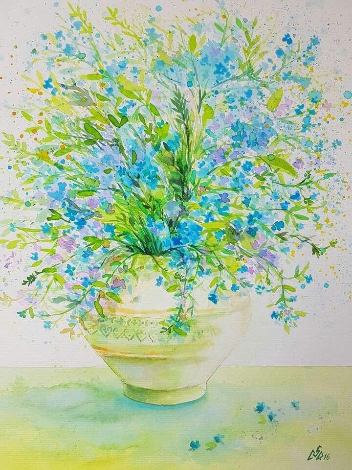 """Blue 27"",watercolor by Gabriela Calinoiu. ,romanian painter. www.picturiflori.wordpress.com"