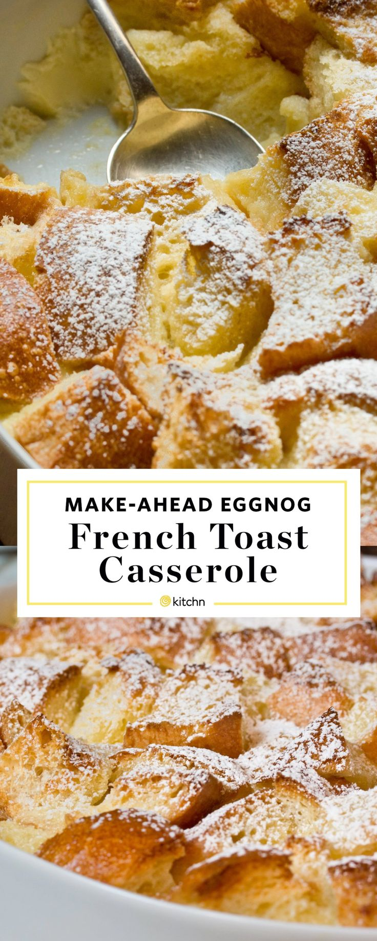 Make Ahead Eggnog French Toast Casserole Recipe. This easy overnight breakfast bake is perfect if you're looking for ideas and recipes for Christmas morning or brunch for kids. Breakfasts for a crowd are so important for holidays. Made with bread (challah or brioche are nice), butter, eggs, milk, eggnog, sugar, bourbon or vanilla extract.