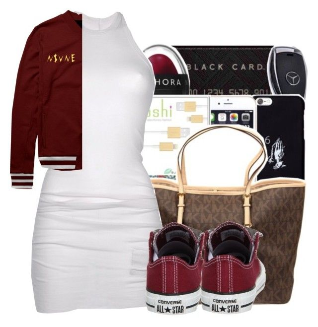 """Imma ladies man bītches call me mclovin"" by maiyaxbabyyy ❤ liked on Polyvore featuring DRKSHDW and Converse"