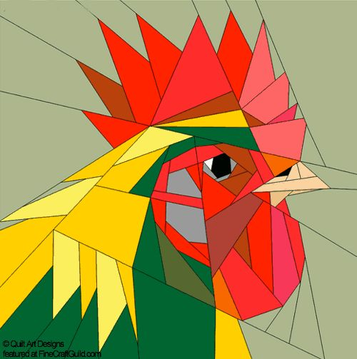 Easter Paper Piecing Quilt Block Patterns : this rooster is one of many farm animals. Fabulous and so great for Easter