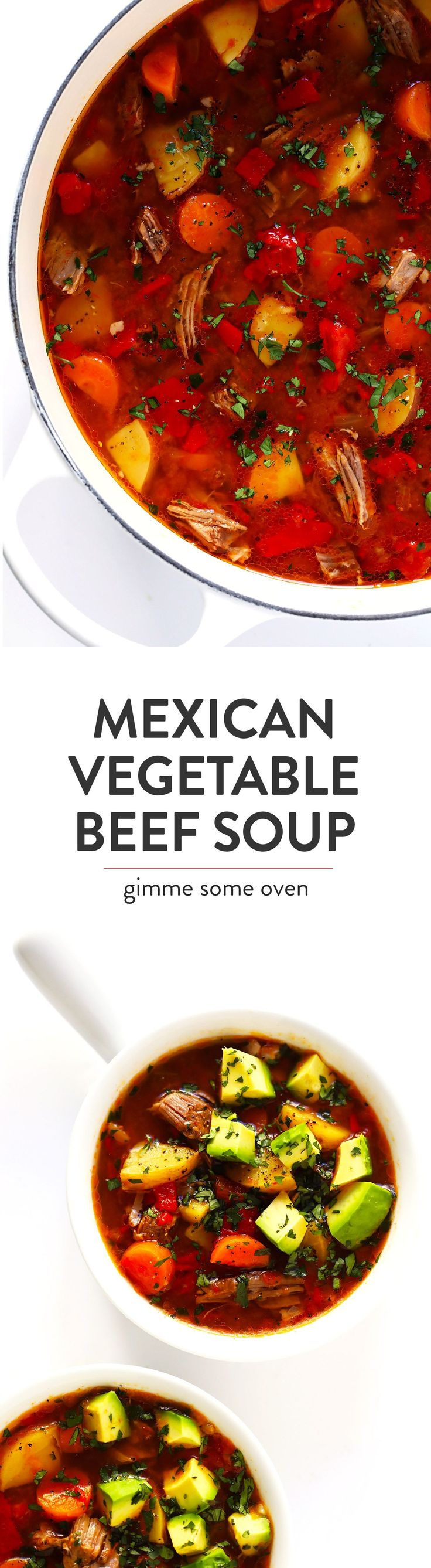 Just added celery!! Love it!!LOVE this Mexican Vegetable Beef Soup recipe! It's easy to make in the Instant Pot (pressure cooker), Crock-Pot (slow cooker), or on the stovetop. And it's full of tender steak, potatoes, carrots, roasted red peppers, tomatoes, and simmered in a delicious tomato chile broth. High recommend topping this stew with lots of fresh cilantro and avocado! #instantpot #soup #stew #pressurecooker #crockpot #slowcooker #comfortfood #beef #steak