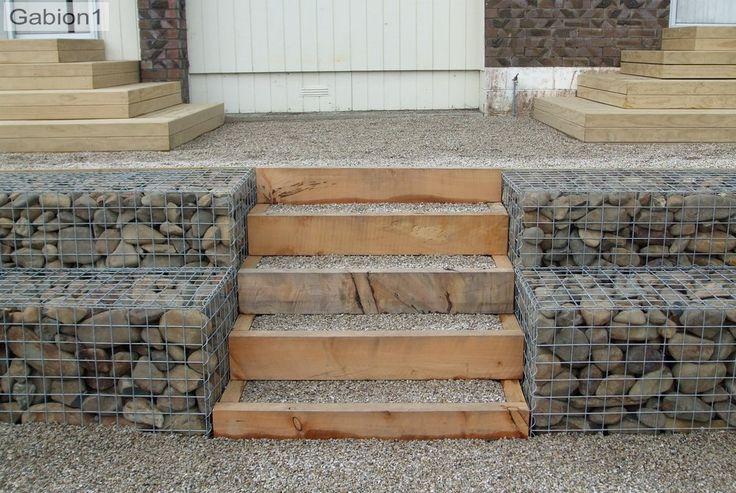 gabion with timber steps http://www.gabion1.com | Gabion ...