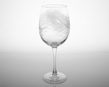 Peacock Etched Large All Purpose Wine Glasses