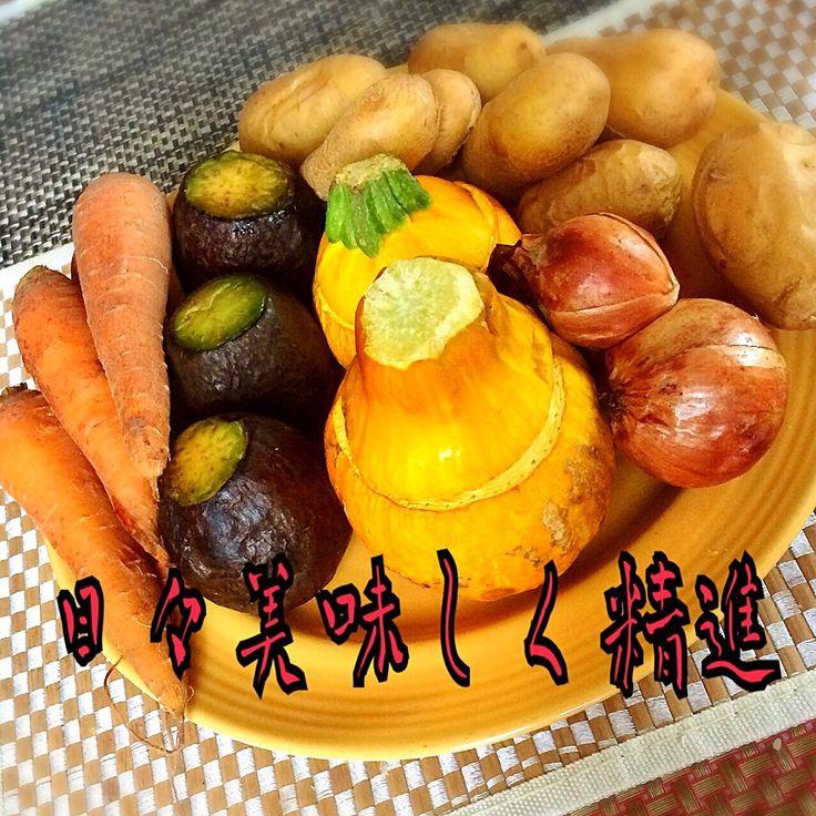 今日の焼き野菜 コリンキー ズッキーニ アボカド ジャガイモ 人参 玉ねぎ