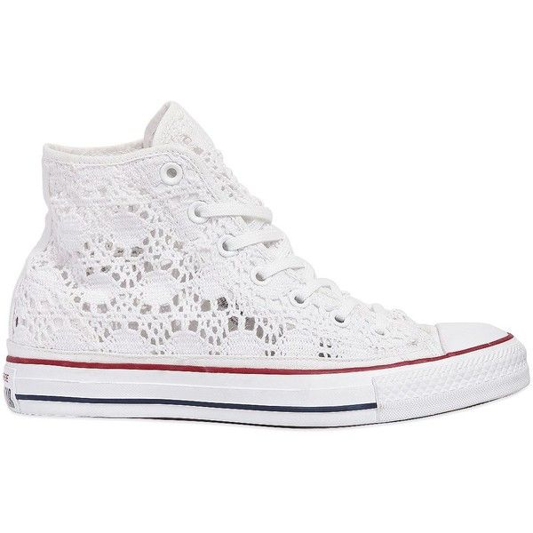 CONVERSE Chuck Taylor Crocheted Cotton Sneakers - White found on Polyvore featuring shoes, sneakers, white, converse trainers, white shoes, patterned shoes, print sneakers and converse footwear