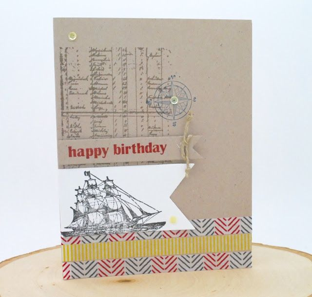 A Masculine Birthday card with Stampin' Up! The Open Sea Stamp Set #masculinecard, #stampinup, #catalogcasecard, #bannersframelitsdies, #pinkblingcrafter, #normapimentel