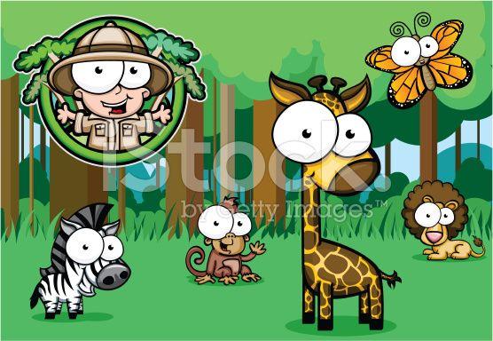 Googly Eyed Safari nella giungla royalty-free stock vector art