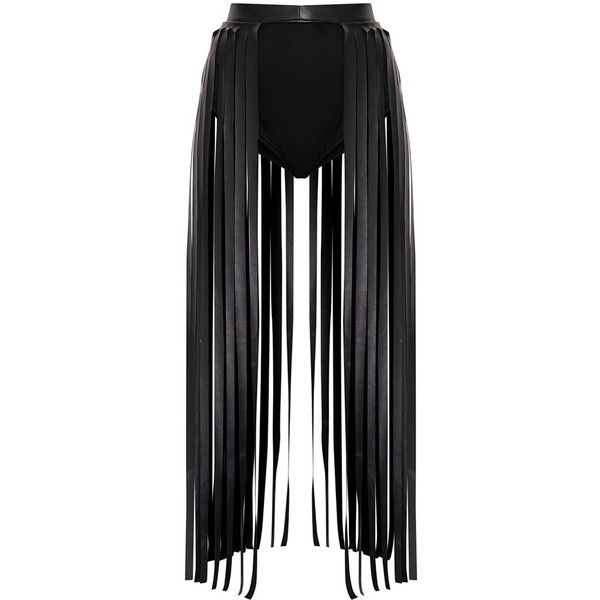 Dee Black Faux Leather Extreme Fringe Belt (26 CHF) ❤ liked on Polyvore featuring accessories, belts, faux leather fringe belt, boho belt, fringe belt, vegan belt and faux leather belt