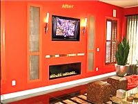linear fireplace with tv above... horrid orange wall color.