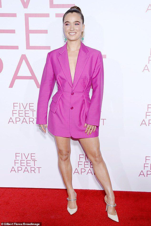 fc7e08aa47d Haley Lu Richardson is pretty in pink as she has fun on red carpet ...