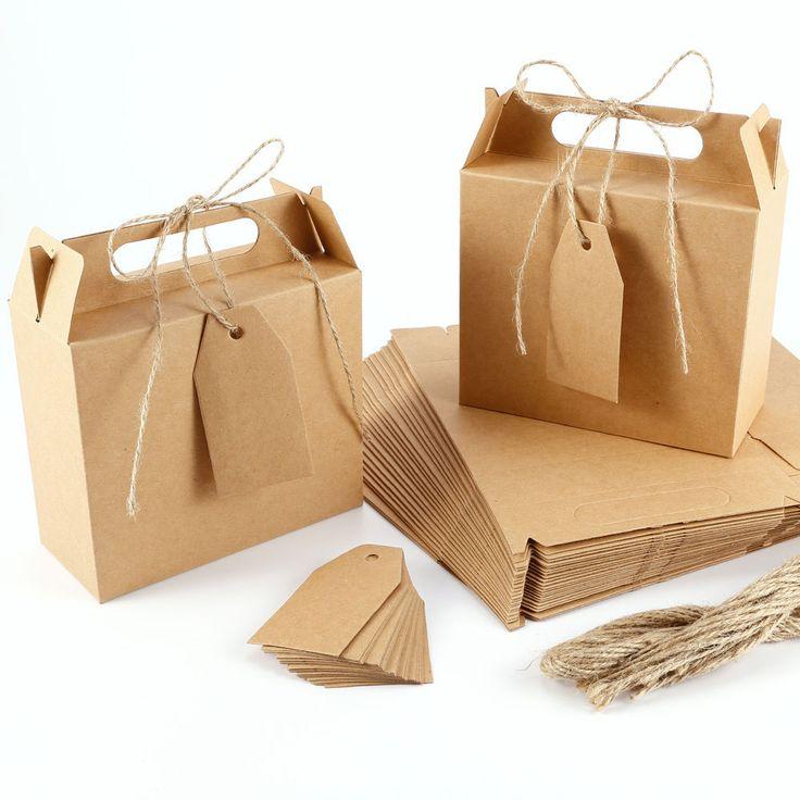 25 x Kraftpapier Geschenkbox Geschenkschachtel Kartonage & Preisetiketten Deko