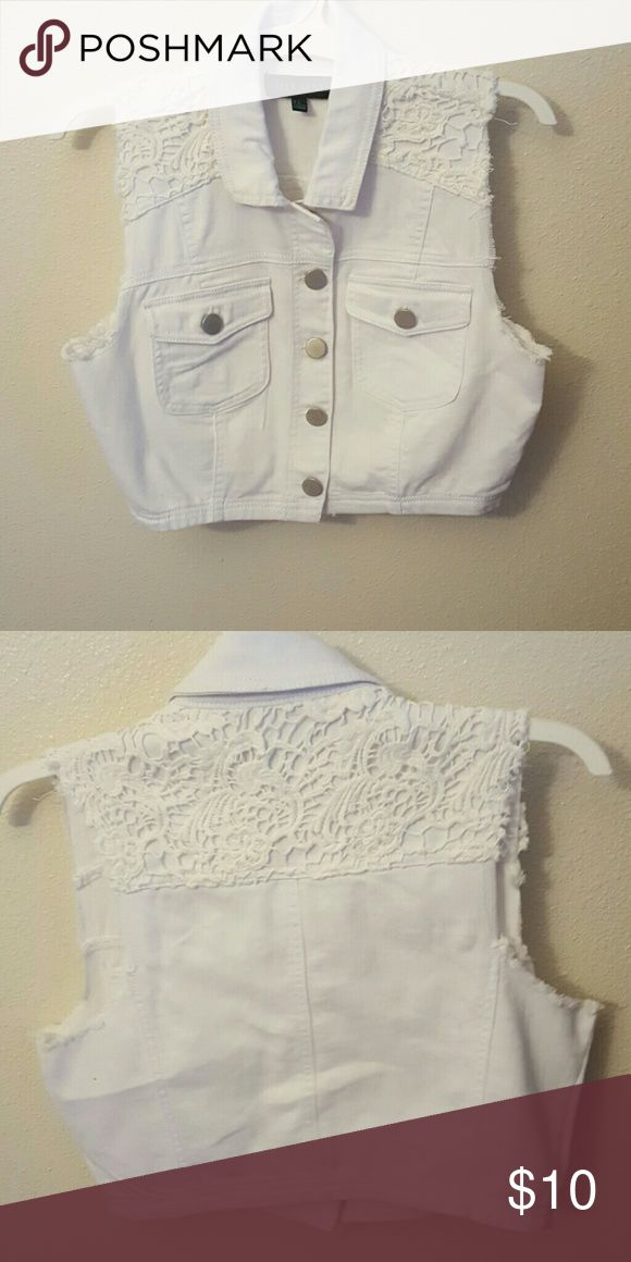 Adorable White Jean Vest with Lace Worn once makes a perfect addition to any outfit! Jackets & Coats Vests