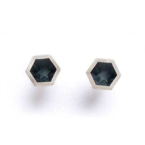 Hexar Stud Black Earrings
