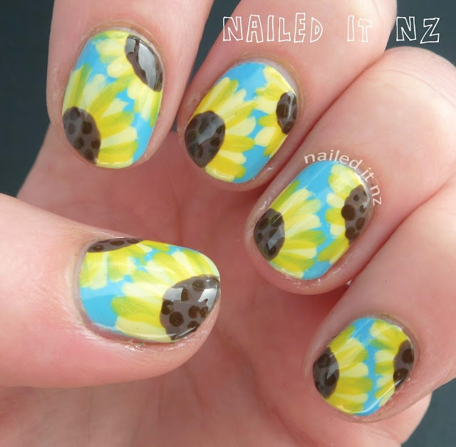 Nailed It NZ: Nail art for short nails - Sunflowers (on YouTube!)
