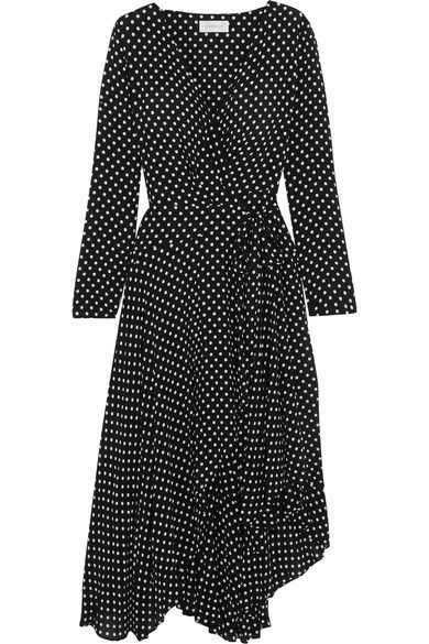 ZIMMERMANN Asymmetric polka-dot crepe wrap midi dress. #zimmermann #cloth #dresses