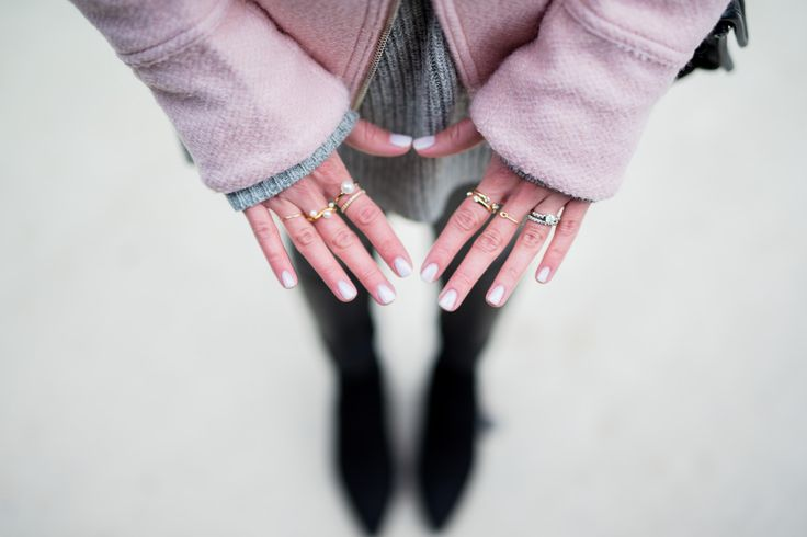 Pam Hetlinger in Boston wearing a cold weather outfit idea, Asos Pink Jacket, Faux Leather Leggings, Reiss Boots, BP Grey Beanie, Chanel French Riviera Flap and Grey Sweater