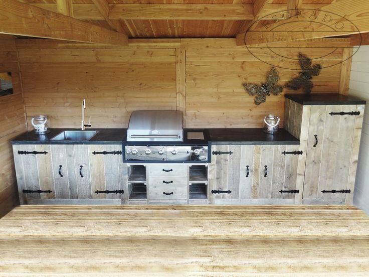 steigerhouten buitenkeuken, buitenkeuken op maat, eikenhouten buitenkeuken, keuken voor buiten