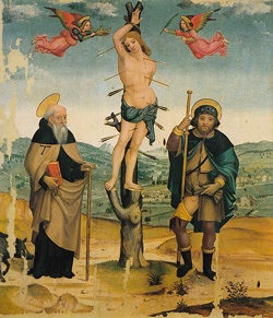 """""""Sant'Antonio Abate, San Sebastiano e San Rocco"""" Maestro di Tavarnelle - Museo di San Casciano"""