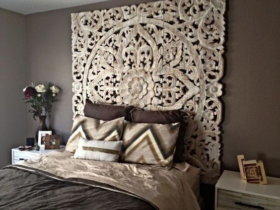 Decorative Mandala Bed Headboard 47″ Sculpture Lotus Flower Wooden Hand Craved Carving Teak Wood White Art Panel Wall Home Decor Thai Twin