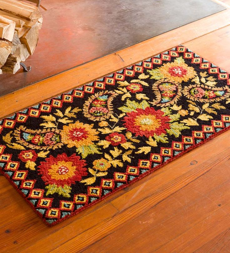 We love this gorgeous rug! Hooked Wool Floral Paisley Hearth Rug adds color, style and protection to your hearth. Also great anywhere else in your home.