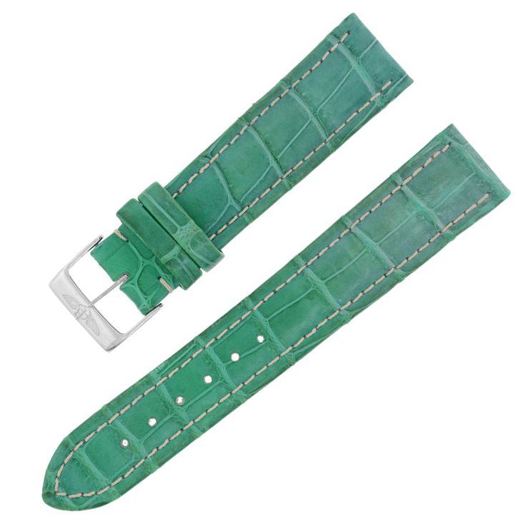 Breitling 20-18mm Genuine Alligator Leather Green Ladies Watch Band w. Buckle