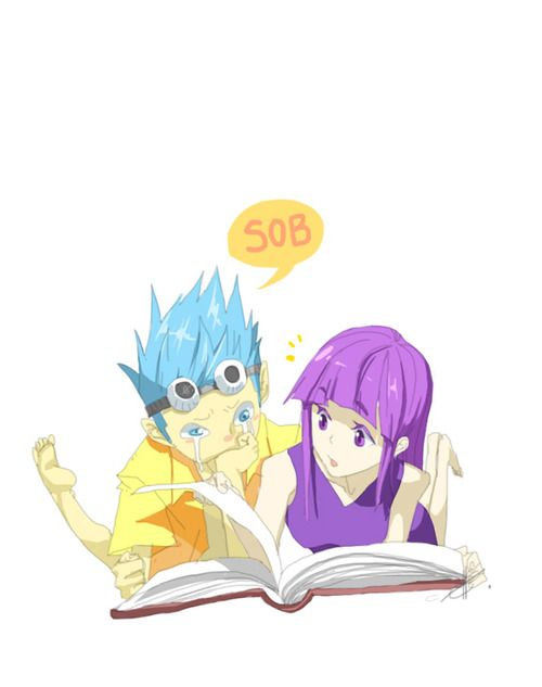A younger Robin and Franky (Not sure when robin had purple hair but I lke it) // One Piece