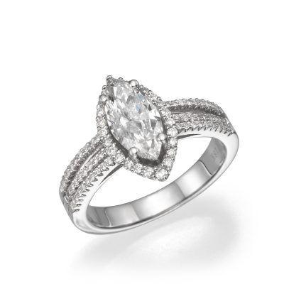 Marquise Diamond Diamond and 18K White Gold Halo Setting Engagement Ring
