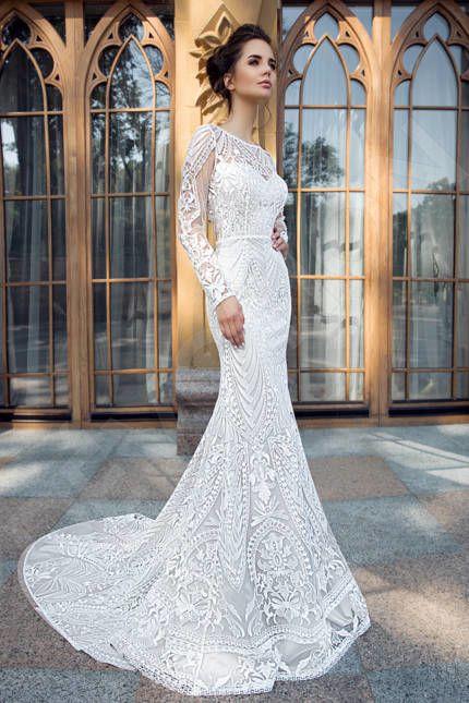 Saniya Elegant Guipure Wedding ceremony gown Ivory | Devotiondresses.com