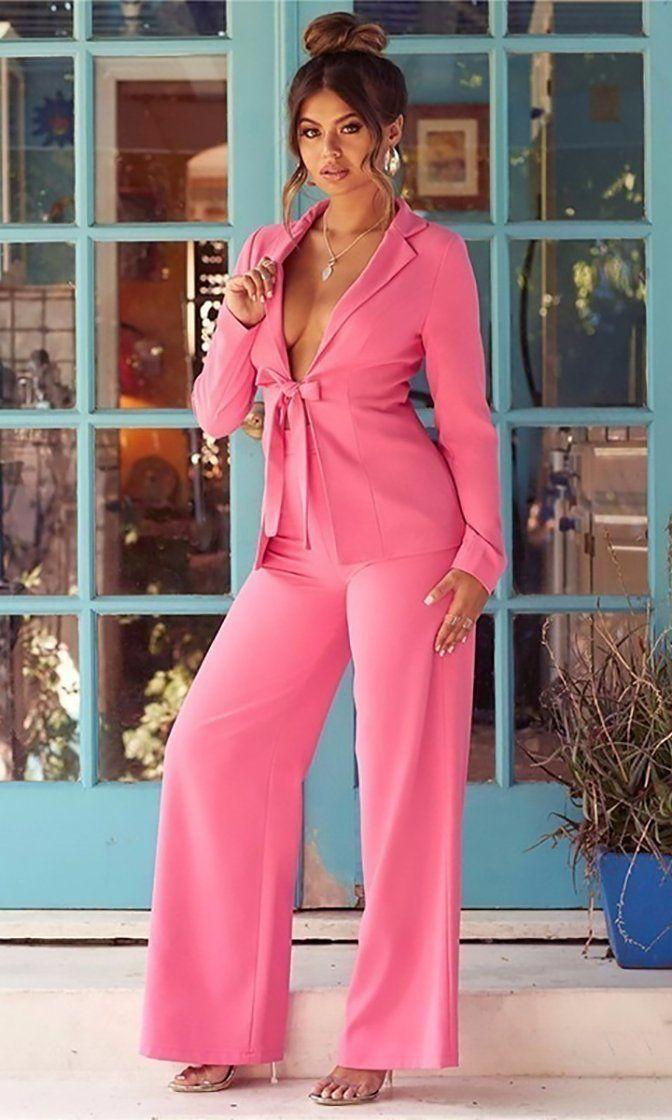 Two Piece Women Loose Coat Long Sleeve+Wide Leg Pants Trousers Casual Set