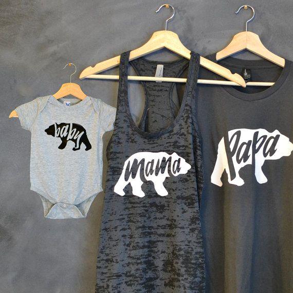 Papa Bär Mama Bär Baby Bear Shirt Paket Mama von HelloHandpressed