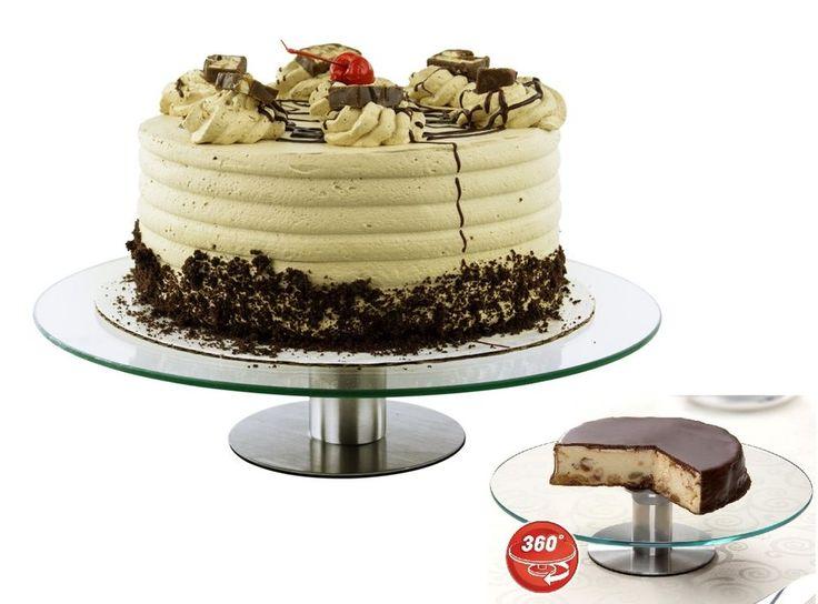 360 Revolving Cake Stand Platter Cupcake Dessert Wedding Birthday Party Display