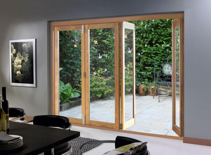 Aluminio enmarcado puertas de entrada de cristal, puertas plegables puerta de cristal