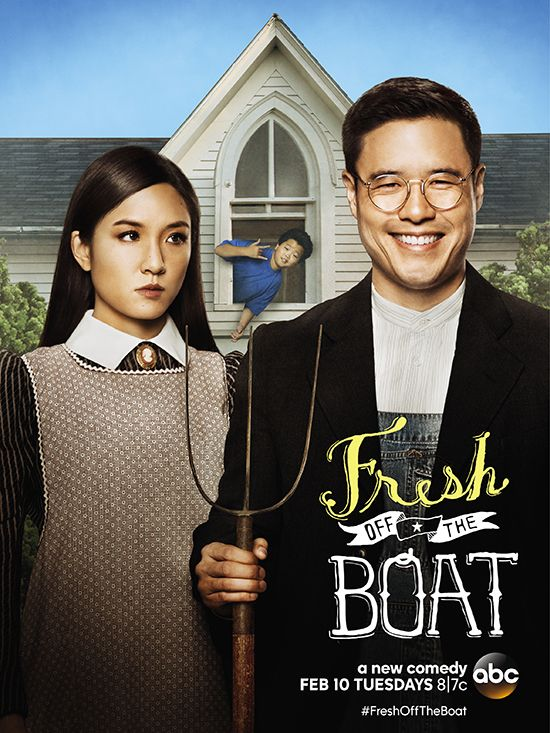 The Hollywood Reporter's exclusive look at the ABC comedy's key art sees Randall Park, Constance Wu and Hudson Yang channeling Grant Wood's American Gothic painting, pitchfork and all.