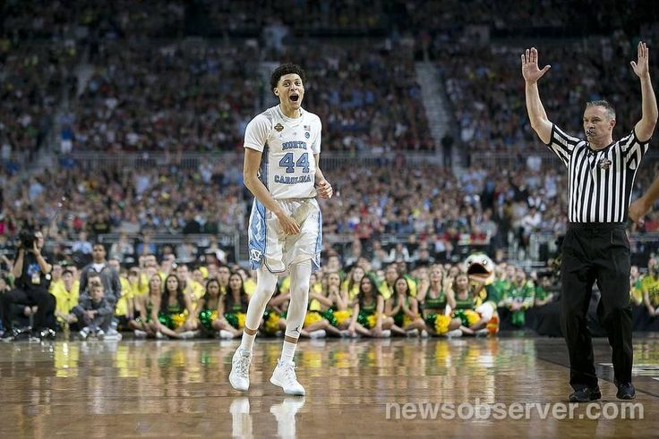 North Carolina's Justin Jackson (44) reacts after sinking a three point basket to give the Tar Heels a 46-38 lead in the second half against Oregon during the NCAA National semifinal game on Saturday, April 1, 2017 at the University of Phoenix Stadium in Glendale, Arizona.