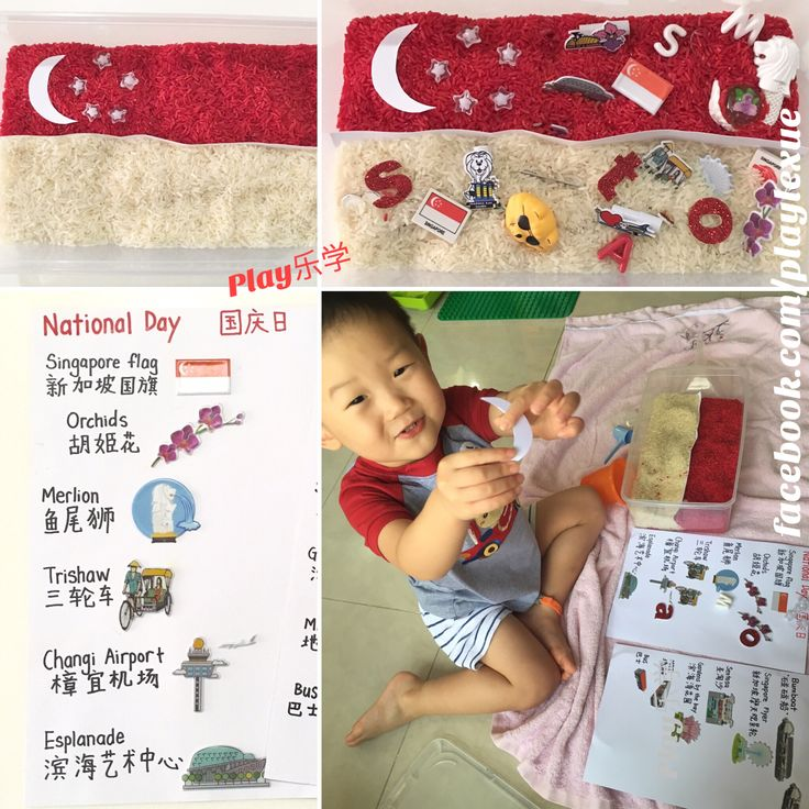 Singapore National Day rice sensory treasure hunt bin with matching worksheets. Check out http://facebook.com/playlexue for more National Day homelearning activities.