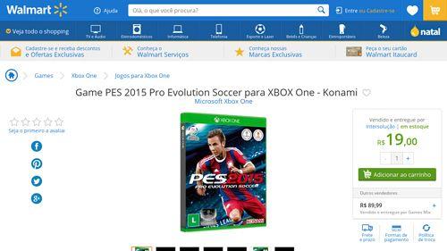[Wal-Mart] Game PES 2015 Pro Evolution Soccer para XBOX One - Konami 1346665 - de R$ 134,90 por R$ 19,00 (84% de desconto)