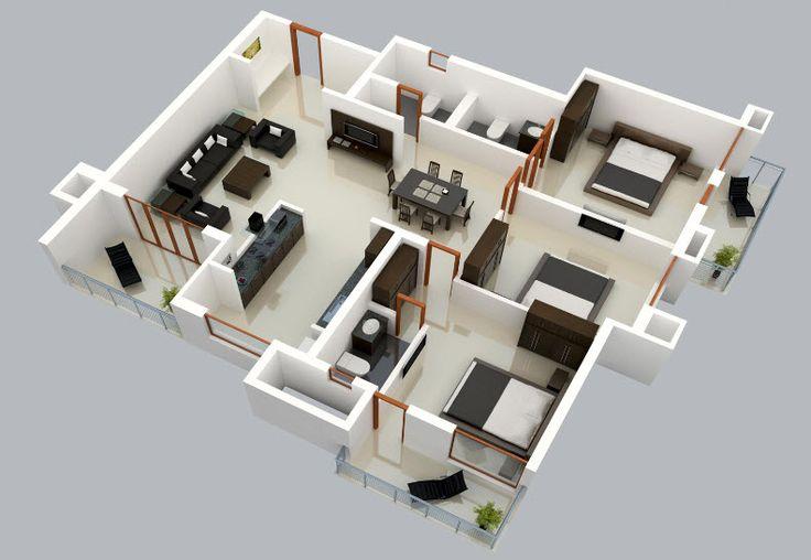 3D Flat (clic para agrandar) En esta casa en 3D podemos ver como se ha distribuido correctamente los espacios desde el ingreso principal que conecta directamente con la la sala estar y junto a est…