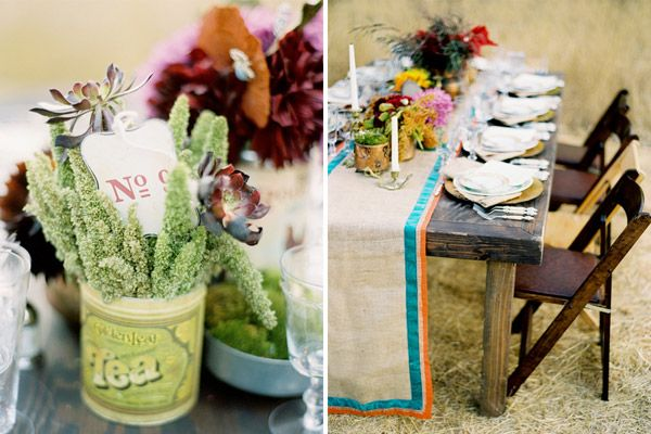 loving the burlap & ribbons. the tins with sweet little bouquets belong on every table: Wedding Inspiration, Amazing Flower, Sweet, Wedding Ideas, Flowers Wedding, Bohemian Wedding, Table Setting, Bohemian Tablescape, Rustic