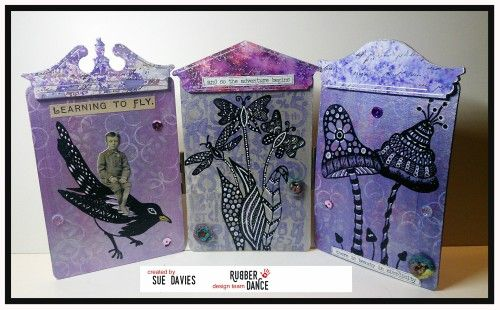 Sue The Iron: Rubber Dance and Colourcraft Blog Hop Day Stamped Altered Art Mixed Media Style