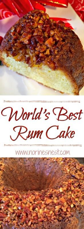 Rich Butter Rum Melt in Your mouth Cake with Pecan Crusted top and Rum Butter Glaze. It truly is the BEST and super easy to make! A great Holiday Dessert.