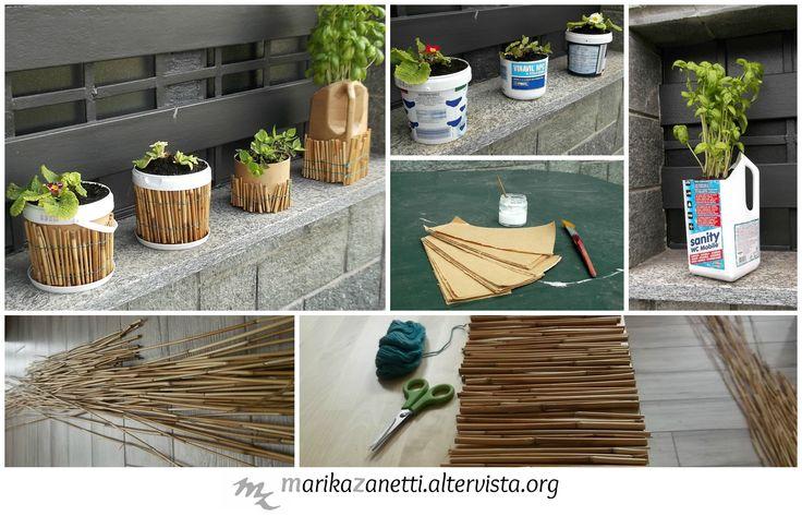 Vasetti per fiori riciclando contenitori di plastica e bambù