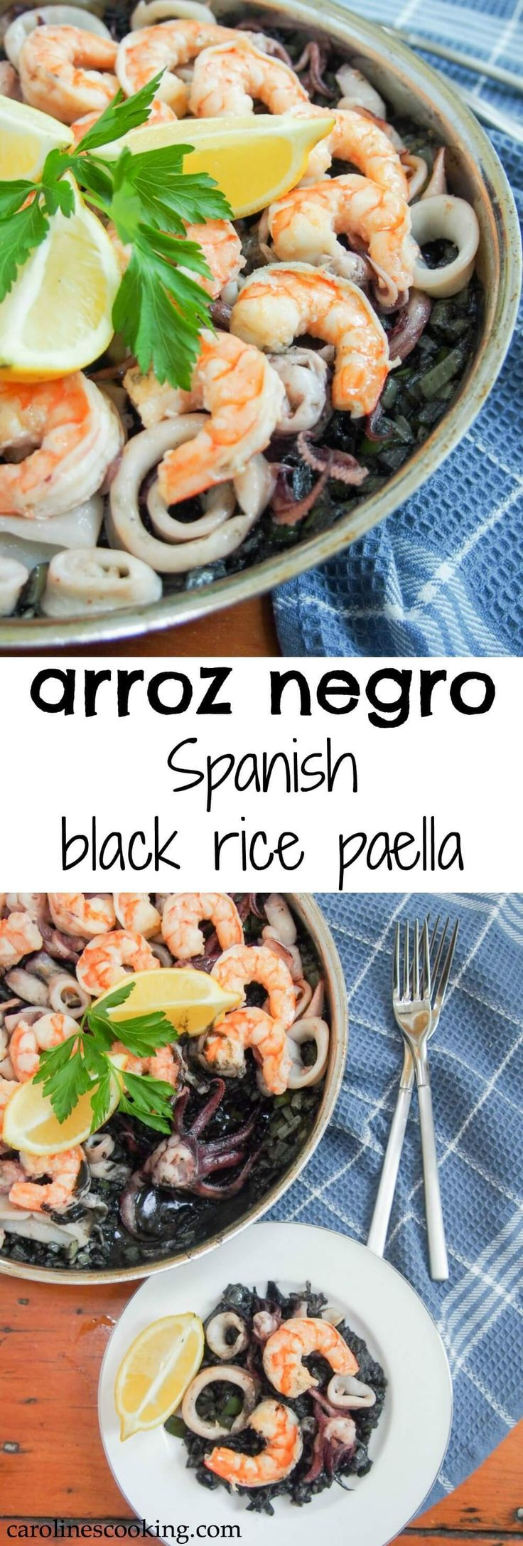 Spanish black rice paella (arroz nego/arròs negre) is a Spanish classic. Tinted with squid ink, packed with seafood, it's delicately flavored and delicious.