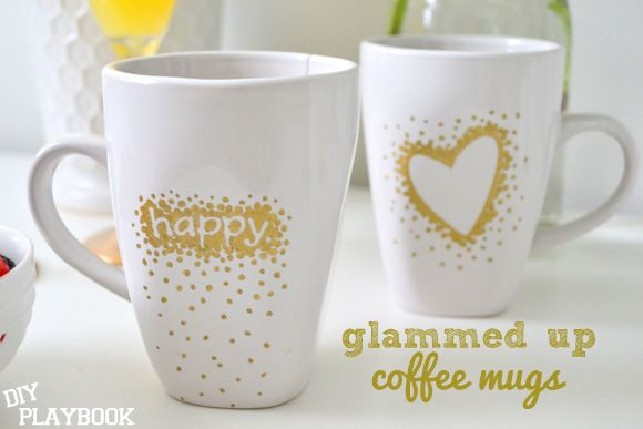 Use stickers and a gold sharpie to create a dotted design on a plain porcelain coffee mug! So easy and can be personalized!