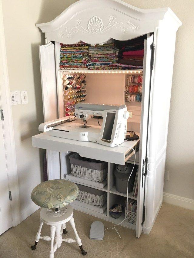 Diy Sewing Cabinet From An Old Media Armoire Remodelicious Com Medienschrank Nahschrank Aufbewahrung Im Bastelzimmer