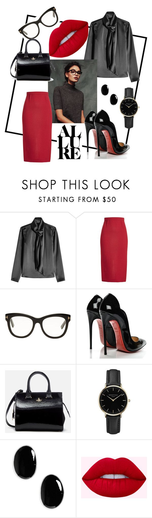 """ALURE"" by lanavons ❤ liked on Polyvore featuring HUGO, Roland Mouret, Tom Ford, Christian Louboutin, Vivienne Westwood, ROSEFIELD, Sophie Buhai and glasses"