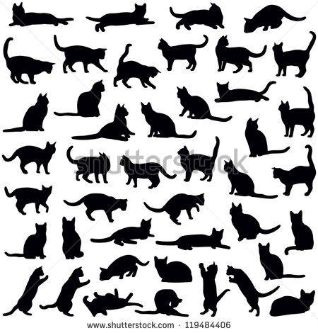 Colección de gatos - silueta de vector Más