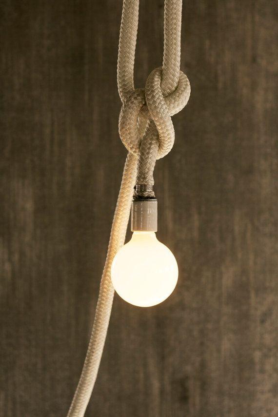 White Rope Nautical Pendant Light Rope Light Cage Lamp Hanging Light Lighting - Luke Lamp Co.