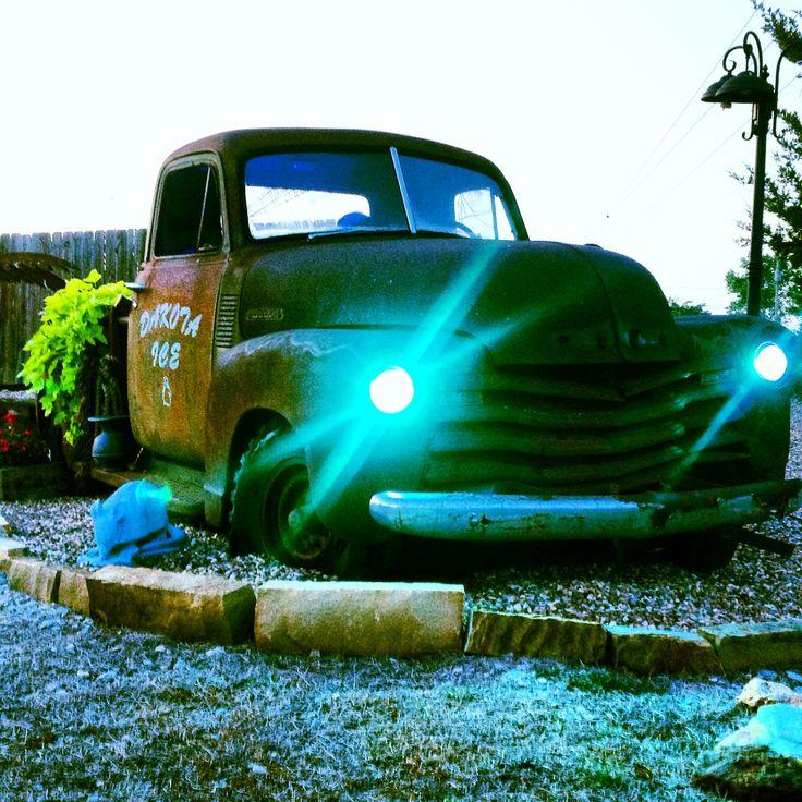 Old trucks lights come on dusk! Vehicles Backyard