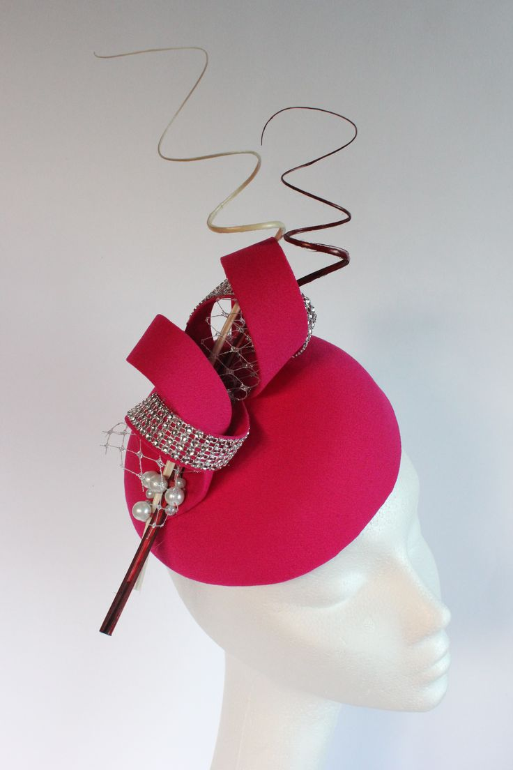 Cerise Pink Hat With Quills And Pearl Detail Small Perfect For A Wedding Guest