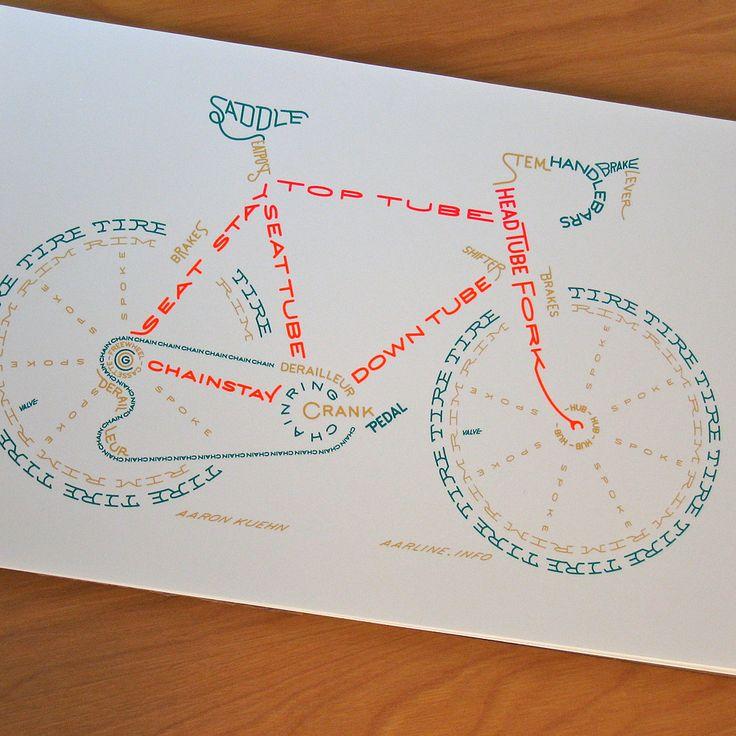 type bike: Bicycles Typogram, Ideas, Roads Bike, This Is Awesome, Design Typography, Bike Poster, Aaron Kuehn, Bike Art, Bike Typogram